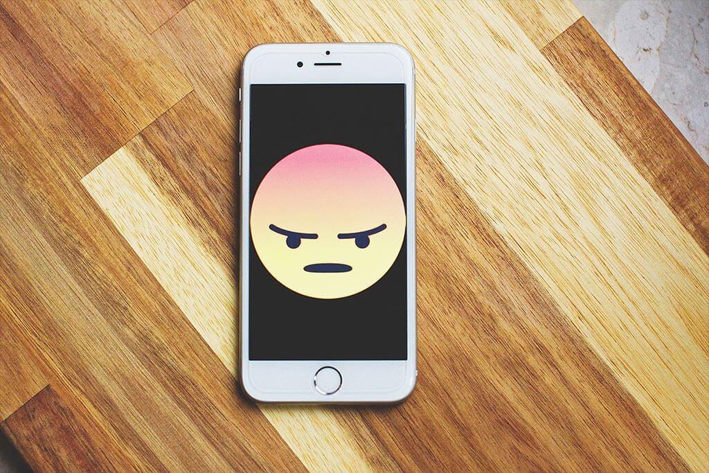 Angry emoji on phone
