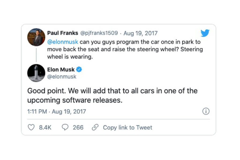 Elon Musk twitter client feedback and his response