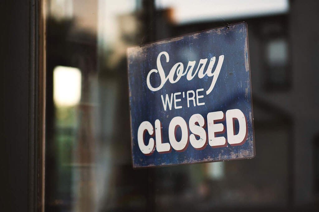 sorry were closed door sign